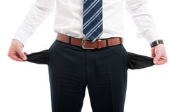 Close-up of elegant man showing his empty pockets Stock Photos