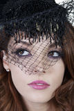 Close-up of elegant woman wearing veil Royalty Free Stock Photography