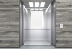 Close up of elevator cabin with vertical poster Royalty Free Stock Image