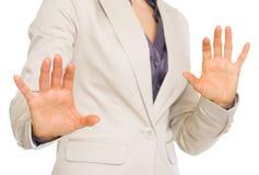 Close up em medos da mulher de negócio foto de stock royalty free