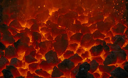 Close up of embers. In forge Stock Photo