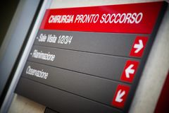 Close-up of an emergency room sign stock image