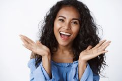 Free Close-up Emotive, Tender And Feminine Surprised African-american Curly-haired Woman In Blue Blouse Reacting To Wonderful Stock Images - 161502764