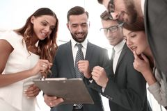 Close up.employees discussing business document royalty free stock photos