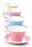 Close up of empty cups i row Royalty Free Stock Images