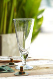 Close up empty glass on wooden table stock photo
