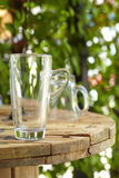 Close up empty glass on wooden table stock images