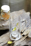 Close up empty glass on wooden table royalty free stock image