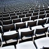 Close up of empty tribune in stadium. Close up of empty tribune in big stadium Royalty Free Stock Photo
