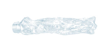 Close up of an empty used plastic bottle on white background Royalty Free Stock Image