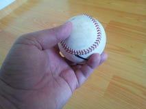 Close-up en van een witte veenmol harde bal in handen stock foto's