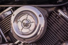 Close-up of engine cylinders motorcycle air filter royalty free stock photo