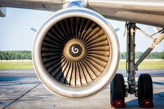 Close-up of engine and main landing gear of passenger aircraft stock photography