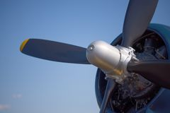 Close up of the engine and propeller of a vintage World War II fighter airplane Stock Images