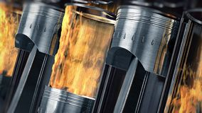 A close-up of engine in slow motion with explosions of fuel