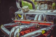 close up Engine of vintage classic retro car detailed engine par royalty free stock photos