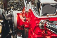 close up Engine of vintage classic retro car detailed engine par stock photo