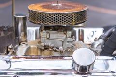 close up Engine of vintage classic retro car detailed engine par stock image