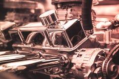 close up Engine of vintage classic retro car detailed engine stock image