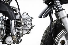 Close up of engine on vintage motorcycle. Custom scrambler motocross. Retro motorbike on white background. stock images