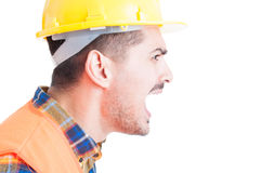 Close-up engineer portrait shouting out loud and showing rage Royalty Free Stock Images