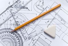 Close up of engineering drawing Royalty Free Stock Photography