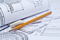 Close up of engineering drawing Royalty Free Stock Images