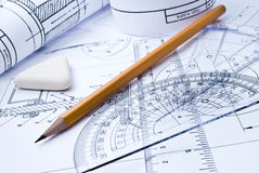 Close up of engineering drawing Royalty Free Stock Photo