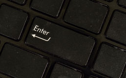 Close up enter button black keyboard Royalty Free Stock Images