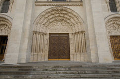 Close-up of entrance to the Basilica of Saint Denis Stock Image