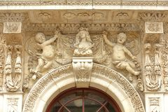 Close-up on the entrance of the Town Hall with details of sculptures in Swanage Royalty Free Stock Photo