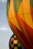 Close-up of the envelops of two hot-air balloons Royalty Free Stock Photography