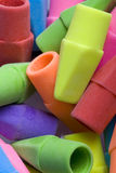 Close up of erasers. A close up of different colored erasers Royalty Free Stock Photography