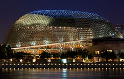 Close up of Esplanade Theatre on the Bay at dusk. The Esplanade, affectionately known as the durian by locals due to the shape of the roof, is a concert and Royalty Free Stock Images