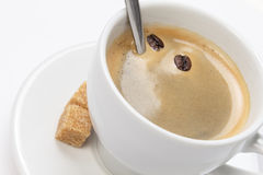 Close up of espresso cup with crema Stock Photography
