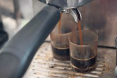 Close up of espresso pouring from coffee machine to shot glass. Professional coffee brewing royalty free stock image