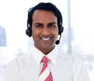 Close-up of an ethnic customer agent Stock Image
