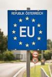 Close up of a EU (European Union) border post Royalty Free Stock Photos