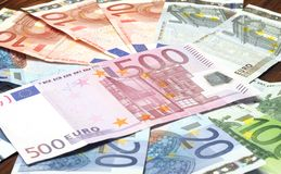 Close-up of Euro banknotes Royalty Free Stock Photo