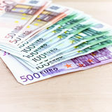 Close-up of Euro banknotes Stock Photography