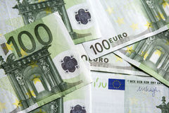 Close-up of the 100 Euro banknotes. Royalty Free Stock Photography