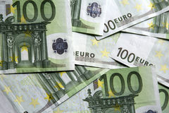 Close-up of the 100 Euro banknotes. Royalty Free Stock Images