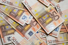 Close-up of the 50 Euro banknotes. Royalty Free Stock Image