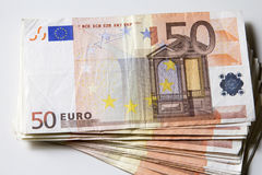 Close-up of the 50 Euro banknotes. Royalty Free Stock Photo