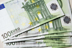 Close-up of the 100 Euro banknotes. Royalty Free Stock Photo