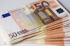 Close-up of the 50 Euro banknotes. Stock Photo