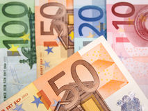 Close up of Euro banknotes with 50 Euros in focus Royalty Free Stock Image