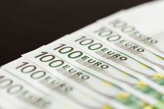Close-up of 100 Euro banknotes Stock Images