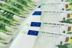 Close-up of 100 Euro banknotes Stock Photo