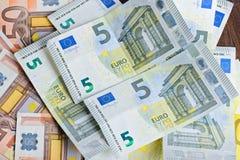 Close-up of Euro banknotes Stock Photo